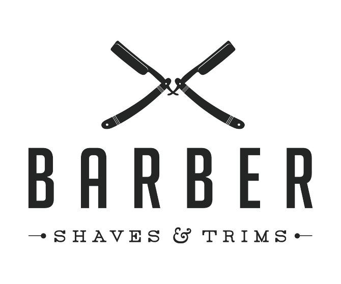 Вывеска мужской парикмахерской с логопипом-опасными бритвами