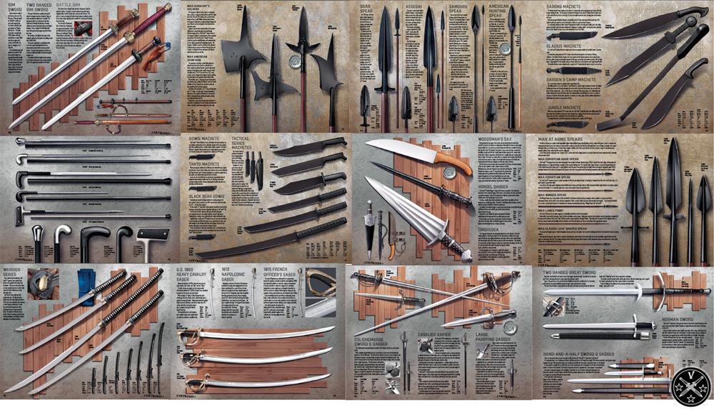 Различные виды реплик холодного оружия в каталоге «Cold Steel»
