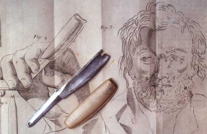 Бритва Перре и его идея деревянной накладки для безопасного хранения.