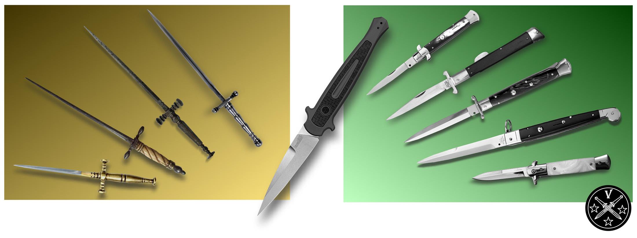 Классические средневековые стилеты (слева) и выкидные автоматические кнопочные «итальянские стилеты» (справа)