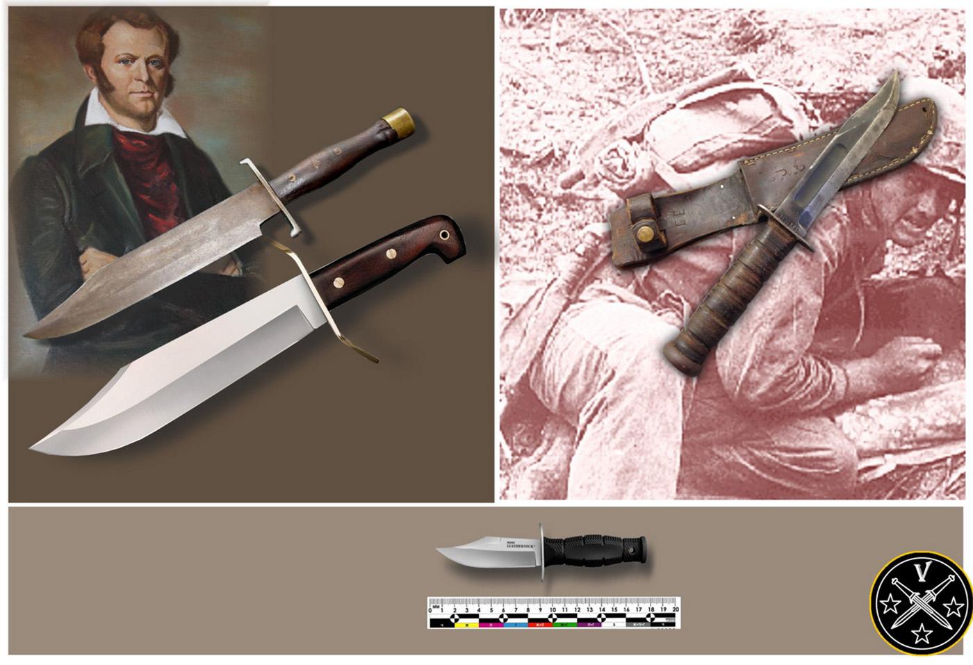 Слева - винтажный нож Боуи, его современная реплика «Cold Steel Wild West Bowie». Справа – американская легенда нож морпехов Второй мировой «US MS Mk2»